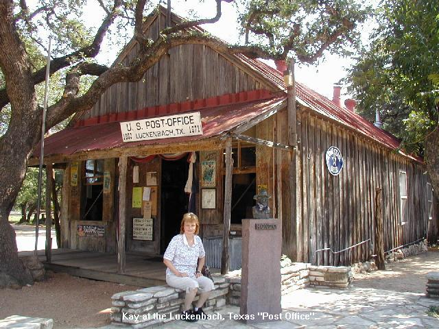 Kay outside the Luckenbach, Texas Post Office