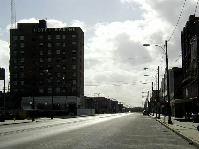 Abandoned Hotel Sabine and deserted downtown Port Arthur