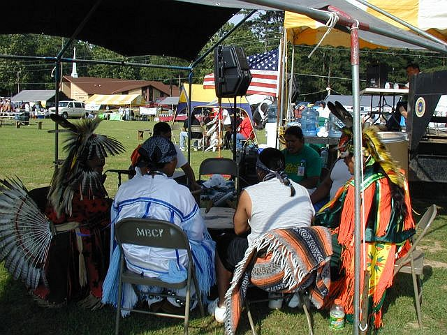 Drummers in Pow Wow at Choctaw Indian Reservation