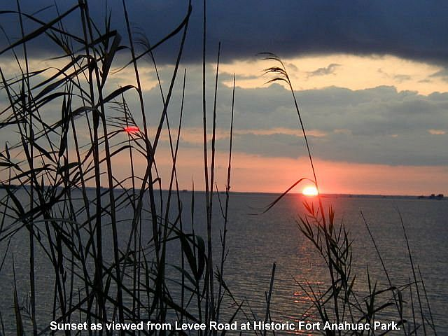 Sunset across Galveston Bay at Historic Fort Anahuac Park