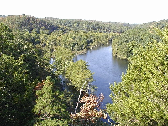 View of Mountain Fork River from high up on Cedar Bluff Nature Trail