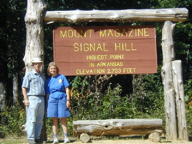 Lawson and Kay at the summit of Mount Magazine